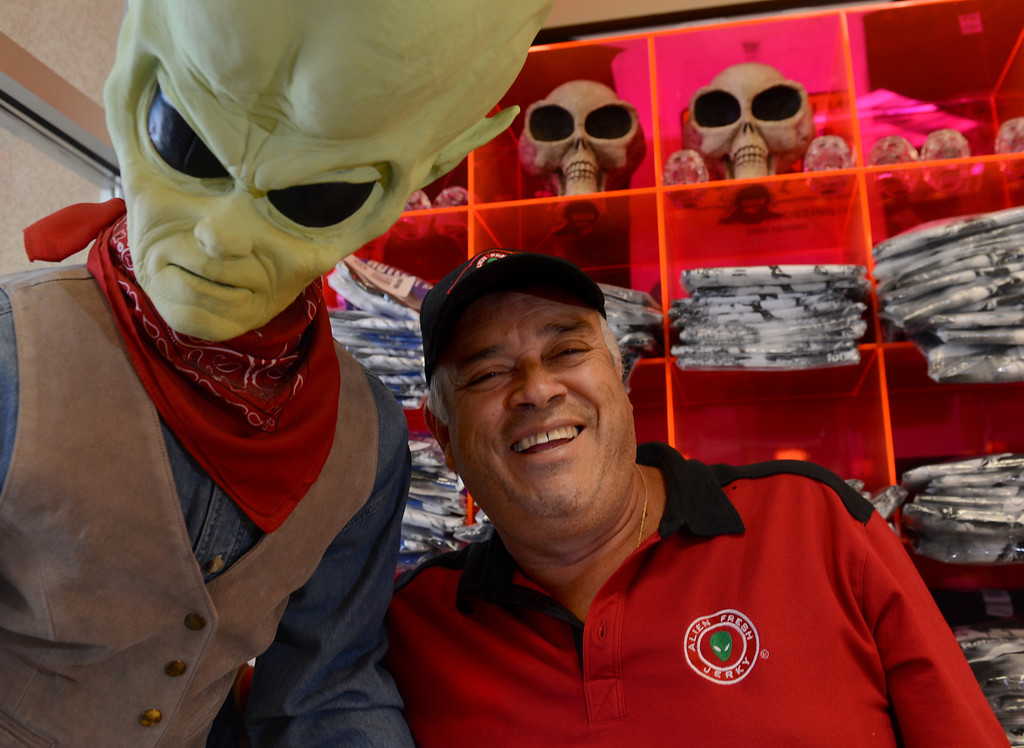 . Businessman Luis Ramallo at Alien Fresh Jerky in Baker, CA, Thursday, April 3, 2014. Ramallo is planning to build a UFO shaped hotel behind the popular Alien Fresh Jerky store. (Photo by Jennifer Cappuccio Maher/Inland Valley Daily Bulletin)