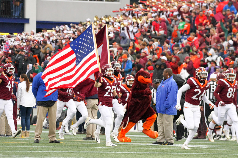 The Virginia Tech Hokies take the field