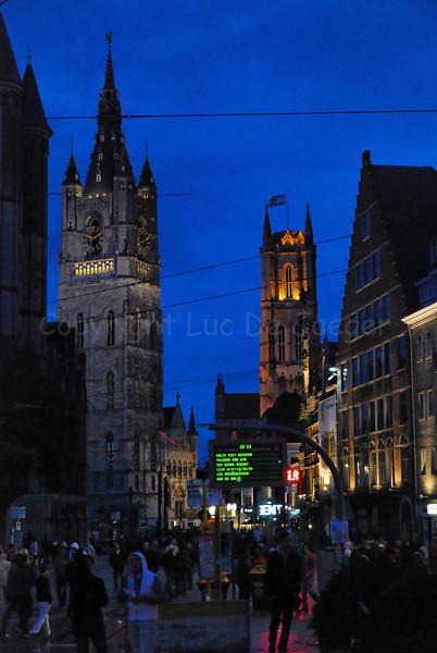A night view on the Ghent Festivities, captured from the St Michielsbrug (St Michael's bridge).
