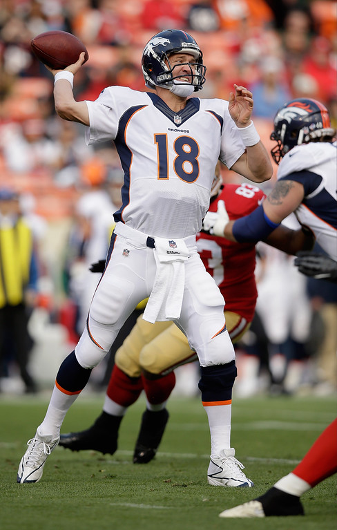 . SAN FRANCISCO, CA - AUGUST 08:  Peyton Manning #18 of the Denver Broncos in action during their preseason NFL game against the San Francisco 49ers at Candlestick Park on August 8, 2013 in San Francisco, California.  (Photo by Ezra Shaw/Getty Images)