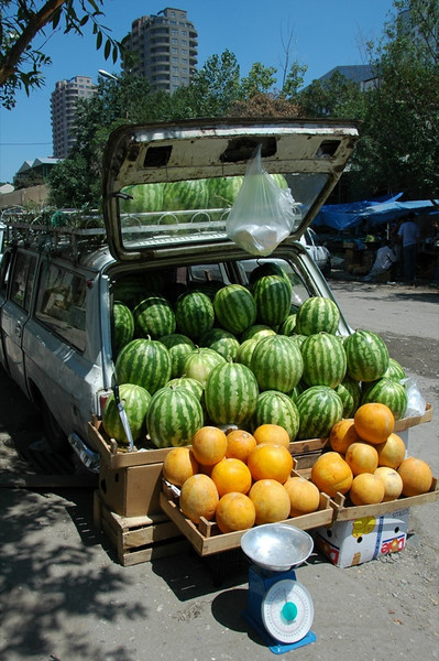 Car Full of Melons at Market - Baku, Azerbaijan