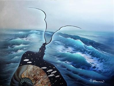 """Meeting"" (oil on canvas) by Olena Abakumova"