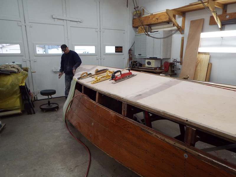 Another view of the bottom being sanded and faired.