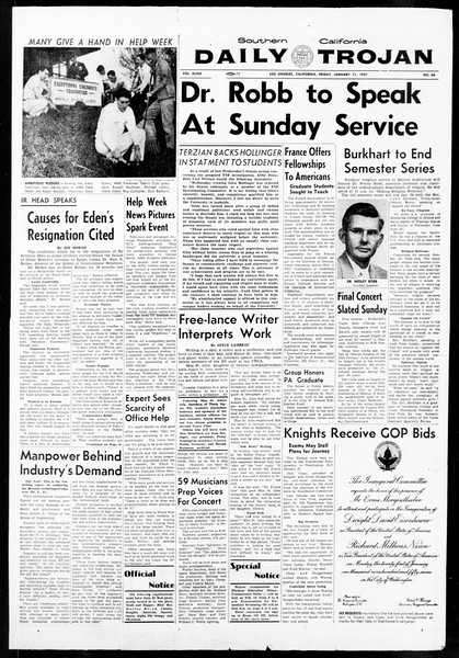 Daily Trojan, Vol. 48, No. 68, January 11, 1957