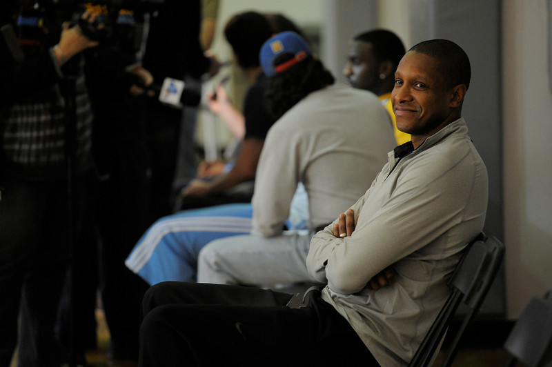. Denver Nuggets executive vice president of basketball operations Masai Ujiri smiles during practice Monday, April 30, 2012 at Loyola Marymount.  John Leyba, The Denver Post