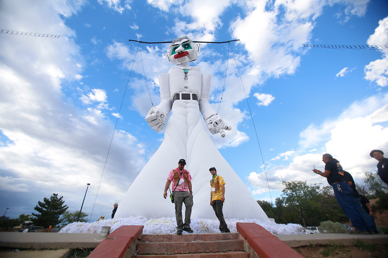Workers prepare Zozobra ahead of its ceremonial burning Friday at Fort Marcy Park in Santa Fe. Luis Sánchez Saturno/The New Mexican