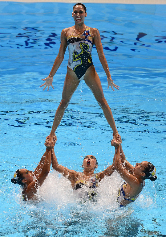 . Mexico\'s synchronised swimming team  compete in the team free combination preliminary round during the synchronised swimming competition in the FINA World Championships at the Palau Sant Jordi in Barcelona, on July 21, 2013.      JAVIER SORIANO/AFP/Getty Images