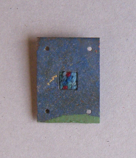 Bamber Hawes ~ My smallest needlepoint mounted in a found piece of metal.