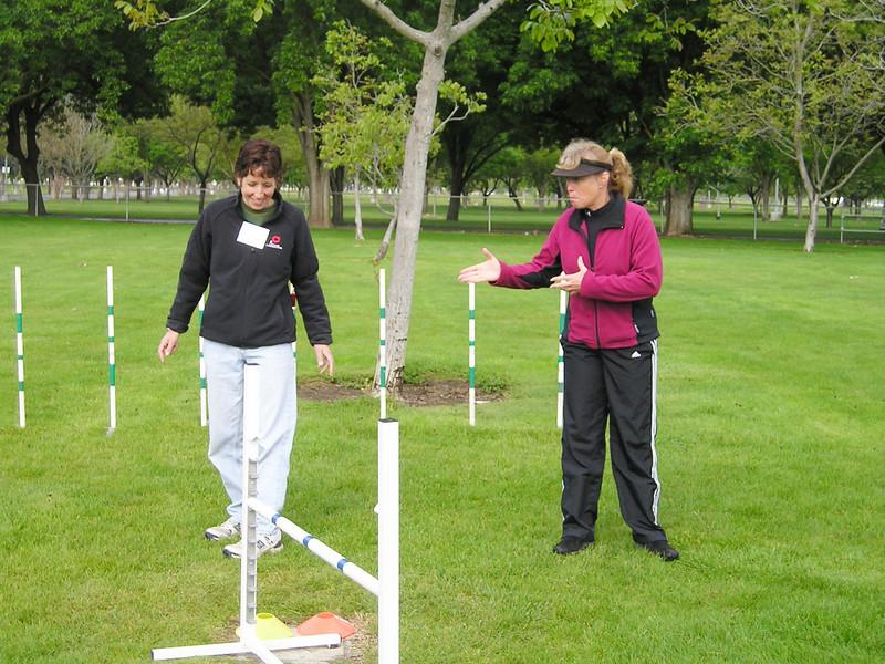 Wendy Pape teaching dog agility crosses