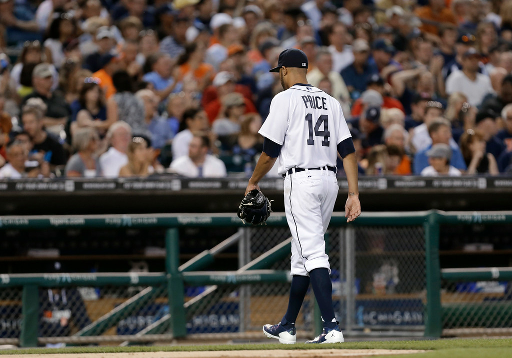 . Detroit Tigers pitcher David Price leaves the field after being pulled in the third inning of a baseball game against the New York Yankees in Detroit, Wednesday, Aug. 27, 2014. Price allowed eight earned runs in two innings. (AP Photo/Paul Sancya)
