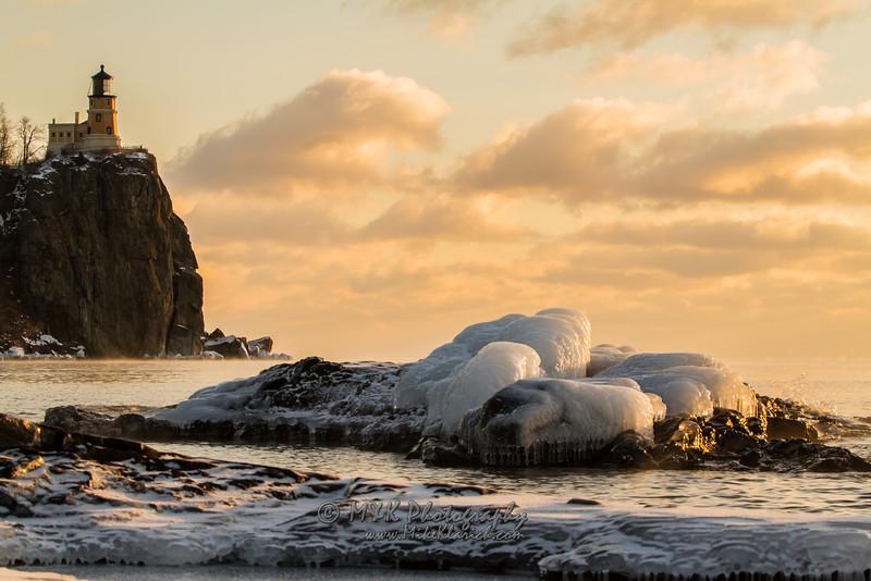 Frozen Split Rock Morning Light