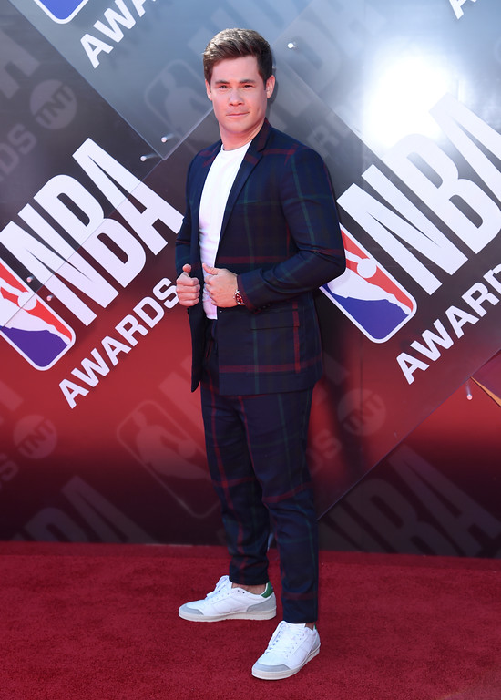 . Adam Devine arrives at the NBA Awards on Monday, June 25, 2018, at the Barker Hangar in Santa Monica, Calif. (Photo by Richard Shotwell/Invision/AP)