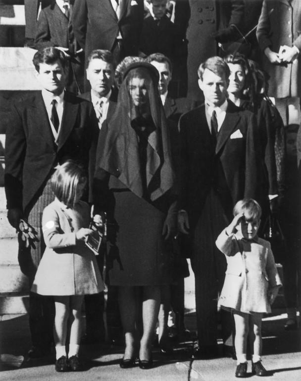 . From left: Sen. Edward Kennedy, Caroline Kennedy, 6, Peter Lawford, Jackie Kennedy, Attorney General Robert Kennedy and John F. Kennedy, Jr., 3.   Keystone/Getty Images