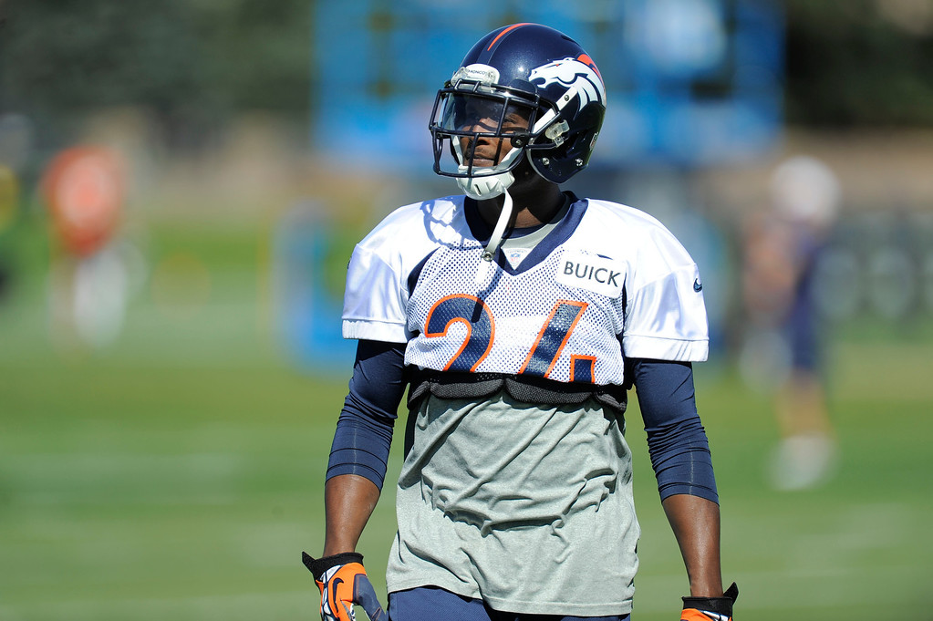 . Cornerback Champ Bailey (24) of the Denver Broncos looks on during drills at practice September 25, 2013 at Dove Valley. (Photo by John Leyba/The Denver Post)