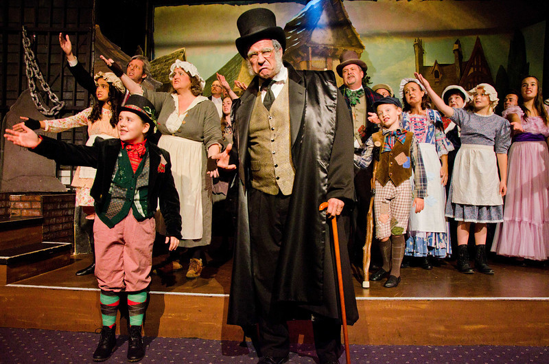 Dave Teeter as Scrooge with Cast