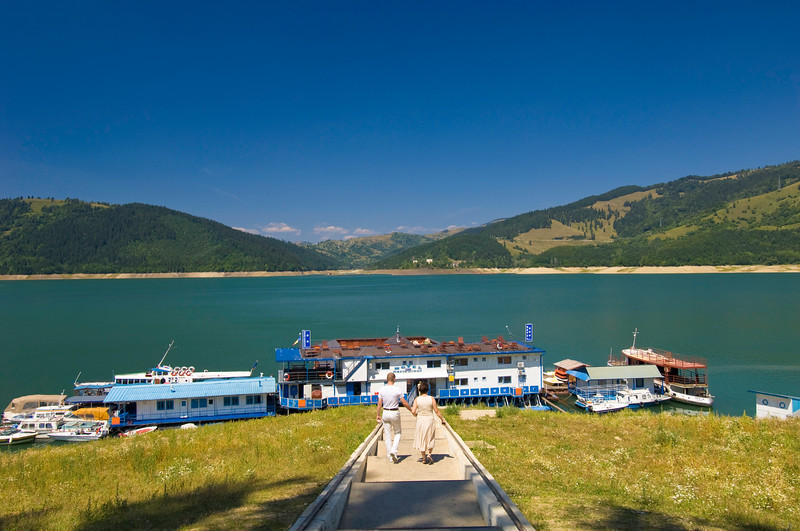 Floating hotel on Bicaz Lake, Moldavia, Romania