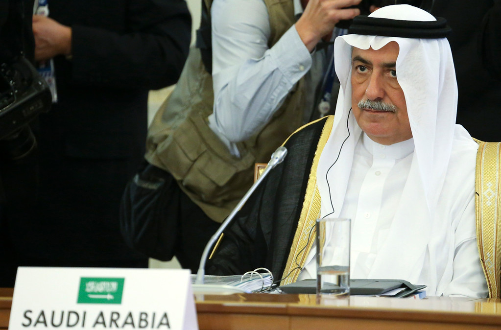. Saudi Arabia\'s Finance Minister Ibrahim Al-Assaf listens during a round table meeting of G-20 leaders at the Konstantin Palace in St. Petersburg, Russia on Thursday, Sept. 5, 2013.  (AP Photo/Sergei Karpukhin, Pool)