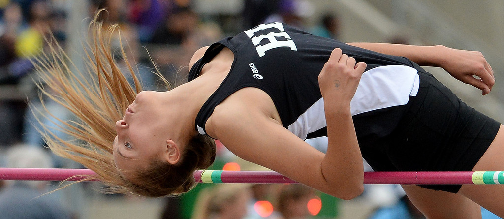 . Huntington Beach\'s competes in the division 1 high jump during the CIF Southern Section track and final Championships at Cerritos College in Norwalk, Calif., Saturday, May 24, 2014.   (Keith Birmingham/Pasadena Star-News)