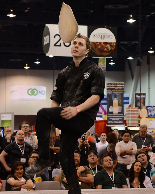 . March 19,2013. Las Vegas NV. USA. Pizza chef\'s  compete in the fastest dough competition during the world pizza games at the 2013 International Pizza Expo. Photo by Gene Blevins/LA DailyNews