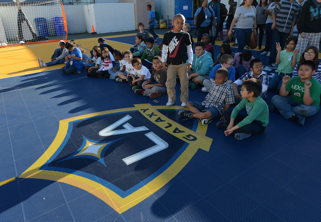 . The L.A. Galaxy unveiled a new Sport Court at the Boys and Girls Club of Carson Friday. In December, with the team heading to the championships, the LA Galaxy Foundation announced it would put in the court, donate equipment and host clinics. 20130301 Photo by Steve McCrank / Staff Photographer