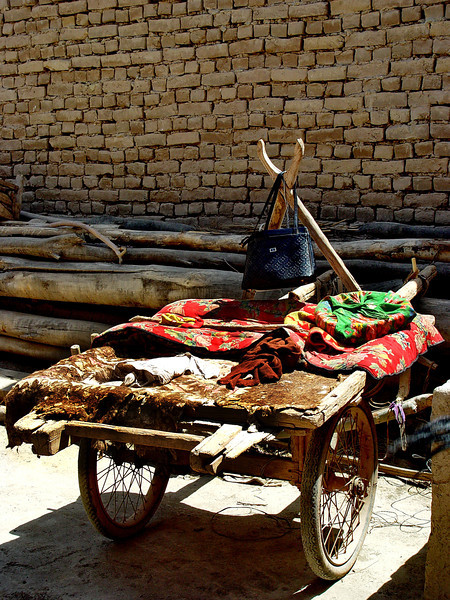 Donkey cart in courtyard of village home near Kashgar DSC01993.jpg