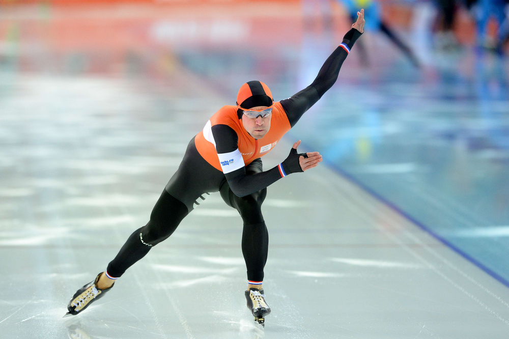 . Netherlands\' Mark Tuitert competes in the Men\'s Speed Skating 1000 m at the Adler Arena during the Sochi Winter Olympics on February 12, 2014.  (ANDREJ ISAKOVIC/AFP/Getty Images)