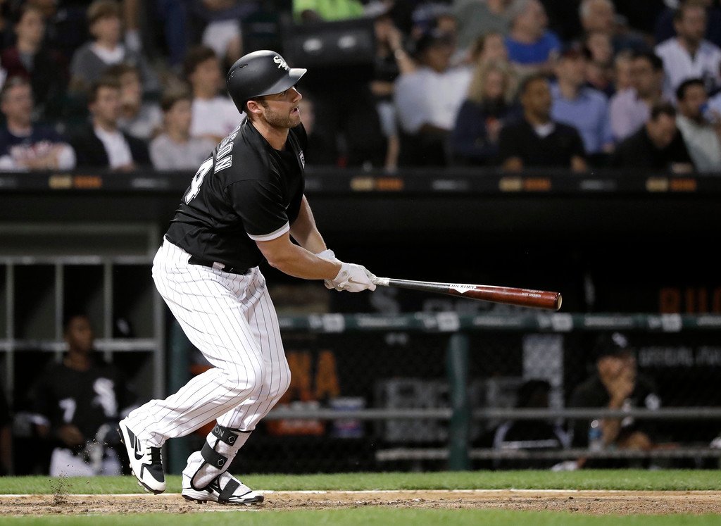 . Chicago White Sox\'s Matt Davidson watches his RBI double off Cleveland Indians starting pitcher Adam Plutko during the fifth inning of a baseball game Tuesday, June 12, 2018, in Chicago. (AP Photo/Charles Rex Arbogast)