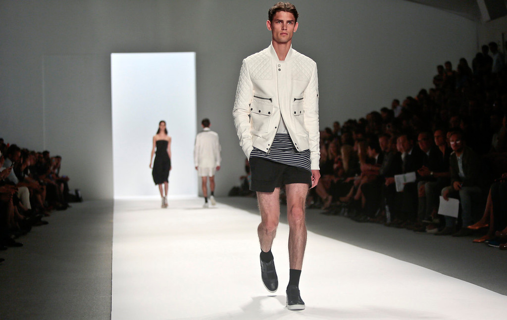 . Fashion from the Richard Chai Spring Summer 2014 collection is modeled on Thursday, Sept. 5, 2013, during Fashion Week in New York.  (AP Photo/Bebeto Matthews)