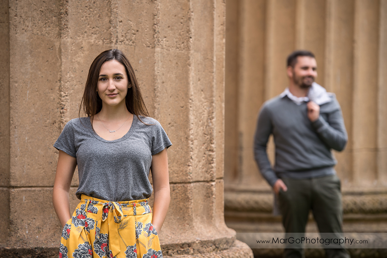 engagement session at Palace of Fine Arts in San Francisco - focus on woman