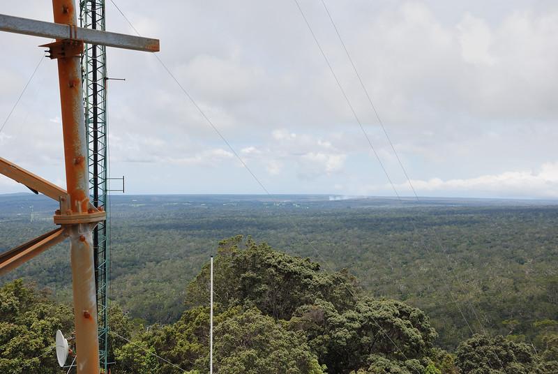 Halema`uma`u eruption at the Kilauea Volcano, 7 miles southeast of the Kulani Cone towers.