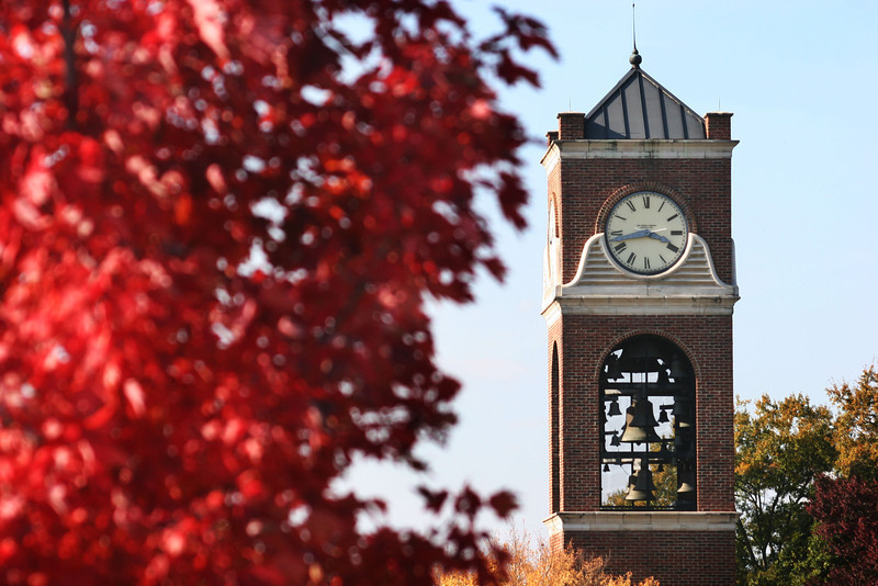 Hollifield Carillon (bell tower) on a beautiful Fall day at Gardner-Webb University.