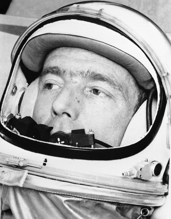 . Mercury Astronaut M. Scott Carpenter peers from his space suit helmet as he goes through final training routine, May 10, 1962 before his three-orbit flight around the earth after launching at Cape Canaveral next Thursday, May 17. It will be the nation?s second manned orbital flight. (AP Photo)