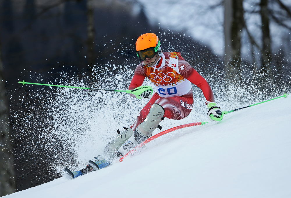 . Sandro Viletta of Switzerland competes during the Alpine Skiing Men\'s Super Combined Downhill on day 7 of the Sochi 2014 Winter Olympics at Rosa Khutor Alpine Center on February 14, 2014 in Sochi, Russia.  (Photo by Ezra Shaw/Getty Images)