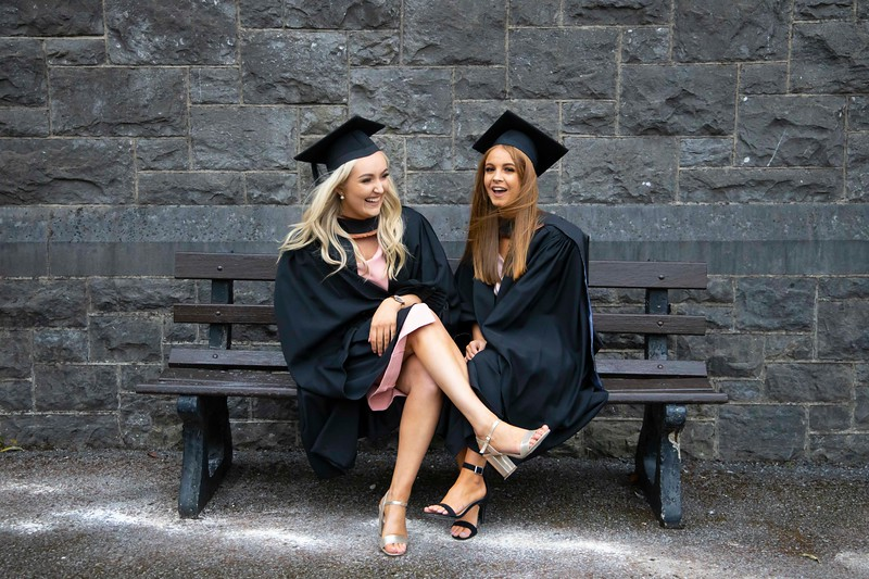 30/10/2019. Waterford Institute of Technology (WIT) Conferring Ceremonies. Pictured are Aoife Power and Kerri McEneary from Waterford City who graduated BA Hons in International Business. Picture: Patrick Browne