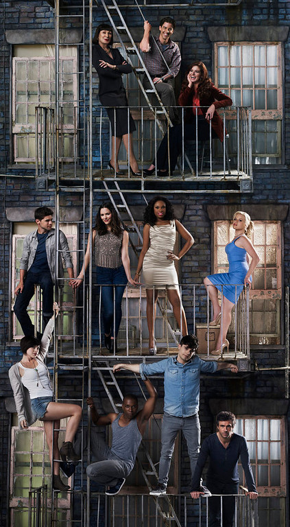 . SMASH -- Season: 2 -- Pictured: (l-r) top row; Anjelica Huston as Eileen Rand, Christian Borle as Tom Levitt, Debra Messing as Julia Houston; middle row; Jeremy Jordan as Jimmy Collins, Katharine McPhee as Karen Cartwright, Jennifer Hudson as Veronica Moore, Megan Hilty as Ivy Lynn; bottom row; Krysta Rodriguez as Ana Vargas, Leslie Odom Jr as Sam Strickland, Andy Mientus as Kyle Bishop, Jack Davenport as Derek Wills -- (Photo by: Mark Seliger/NBC)