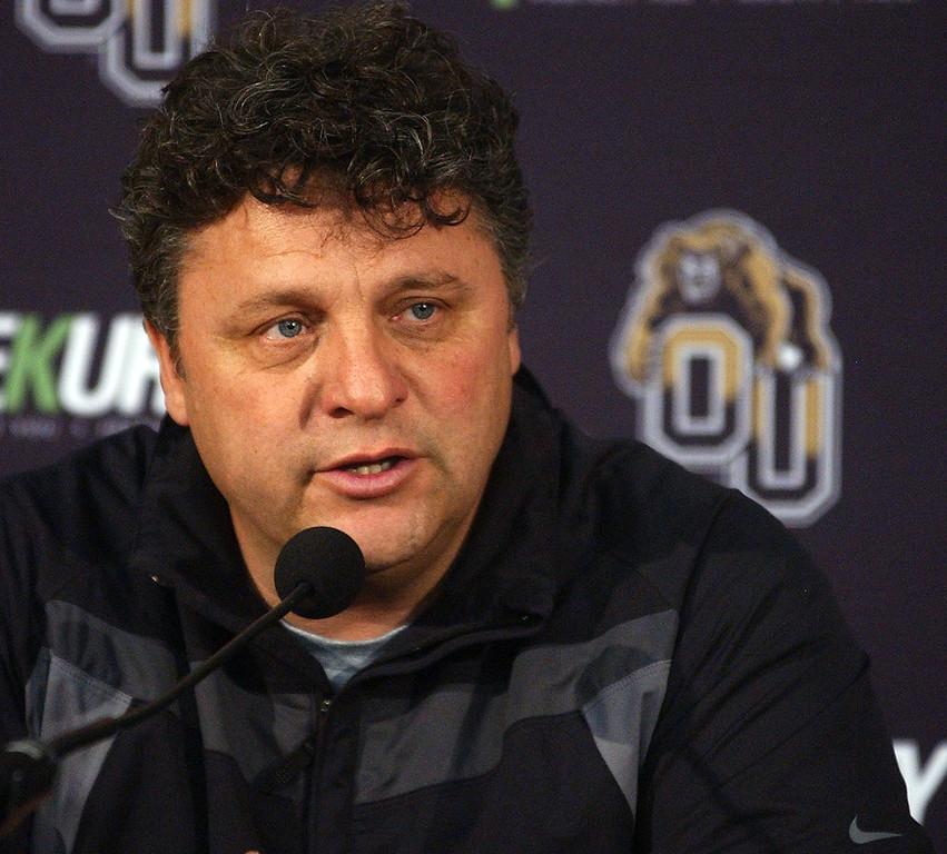 . Greg Kampe, Oakland University men\'s basketball head coach, talks to the press during Media Day at the O\'Rena.