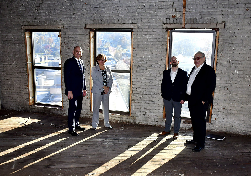 11/6/2019 Mike Orazzi | Staff Bristol Hospital President and CEO Kurt Barwis, Bristol Mayor Ellen Zoppo-Sassu and  Bristol Development Authority  Executive Director Justin Malley meet with Lockwood Development Partners' Charles Everhardt at the corner of Main and Prospect Streets in what will be transformed into housing for veterans in downtown Bristol.