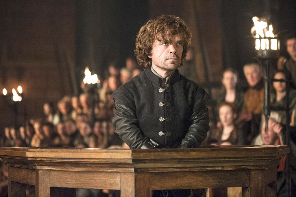 """. This image released by HBO shows Peter Dinklage in a scene from \""""Game of Thrones.\""""  The series garnered 19 Emmy Award nominations on Thursday, July 10, 2014, including one for best drama series. (AP Photo/HBO, Helen Sloan)"""