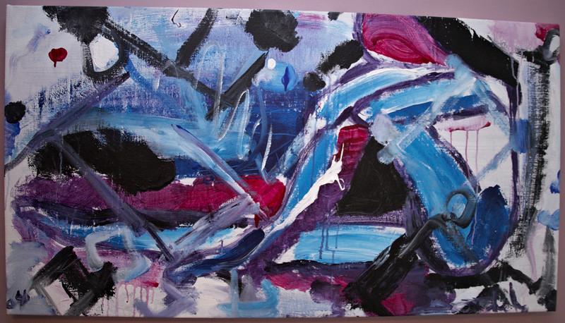 """2004, 26"""" x 50"""". The Dancer, Acrylic on canvas."""