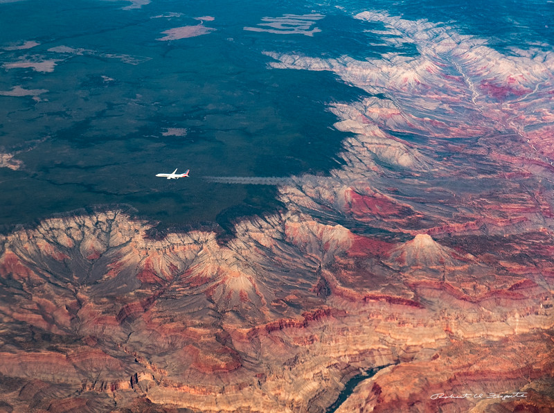 Crossing American Airlines Flight, western end of the Grand Canyon.