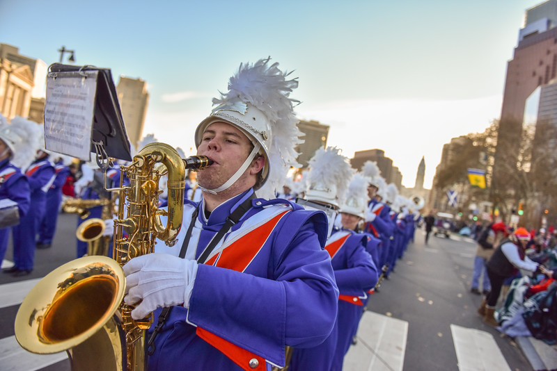 Senior Perry Riggs of the West Orange High School Marching Band performs in the 98th Annual Thanksgiving Day Parade. 11/23/17 Credit Thomas Lightbody