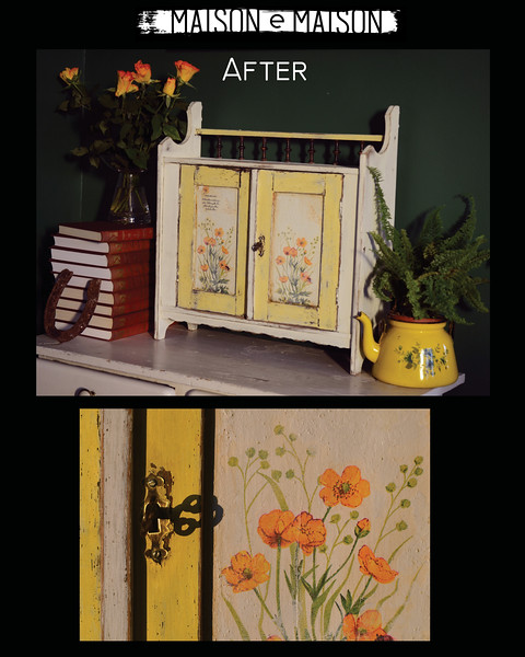 Tiny cabinet, repainted with milk paint
