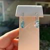 4.20ctw Blue Zircon Dangle Earrings 3