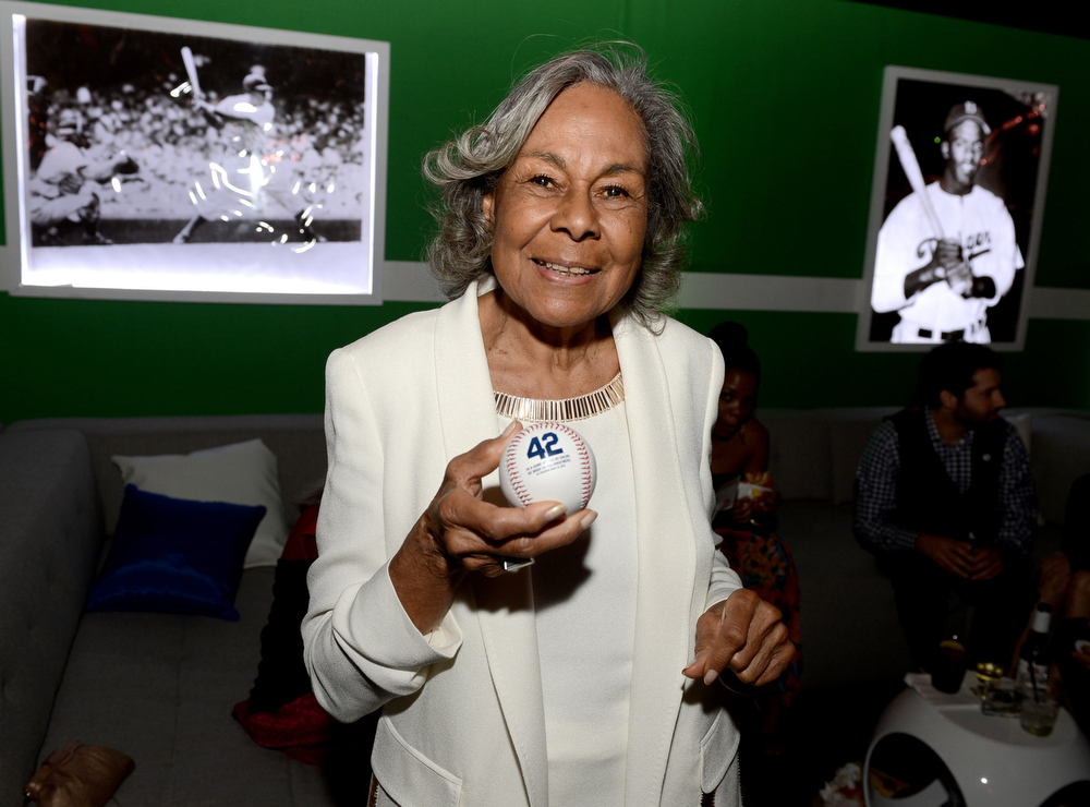 ". Rachel Robinson, Jackie Robinson\'s widow, poses at the after party for the premiere of Warner Bros. Pictures\' and Legendary Pictures\' ""42\"" at the Chinese Theatre on April 9, 2013 in Los Angeles, California.  (Photo by Kevin Winter/Getty Images)"