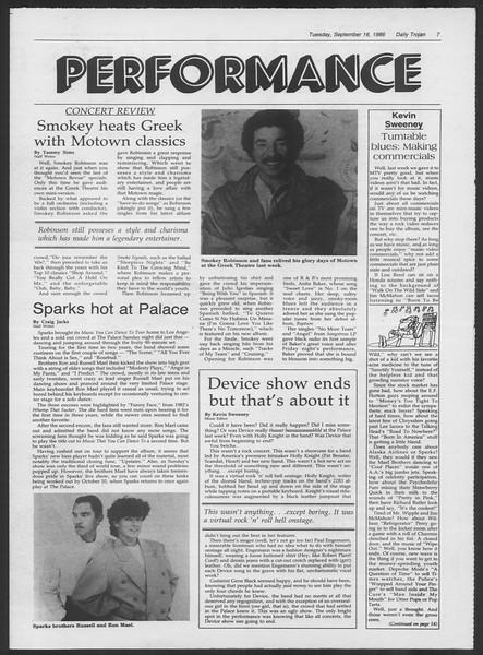 Daily Trojan, Vol. 102, No. 11, September 16, 1986