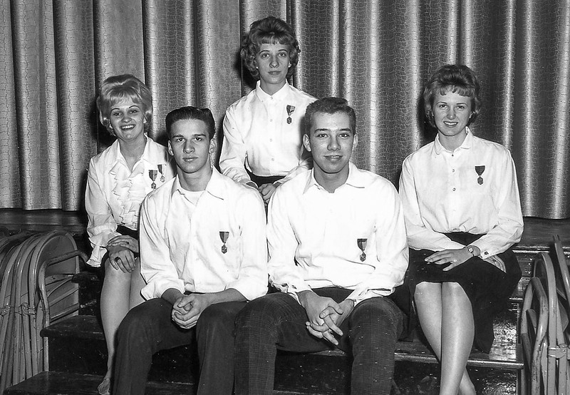 District Chorus Members  Row 1: John Wills, Bill McCaulley Row 2: Lucille Sharer, Kathy Gearhart, Helen Cherry (interloping little Junior girl)