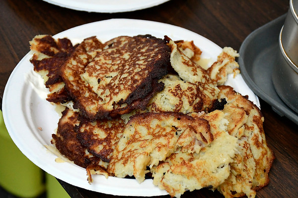 9/8/2018 Mike Orazzi | Staff Potato pancakes during Dozynki at St. Stanislaus Church in Bristol Saturday.