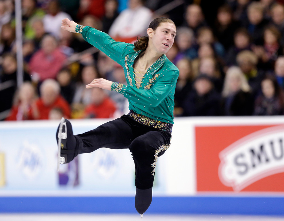 . Jason Brown competes during the men\'s free skate at the U.S. Figure Skating Championships Sunday, Jan. 12, 2014 in Boston. (AP Photo/Steven Senne)