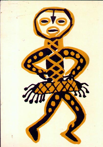 postal - pintura moral nas cubatas da Lunda -museu do Dundo