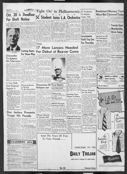 Daily Trojan, Vol. 43, No. 11, October 01, 1951